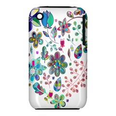 Prismatic Psychedelic Floral Heart Background Iphone 3s/3gs by Mariart
