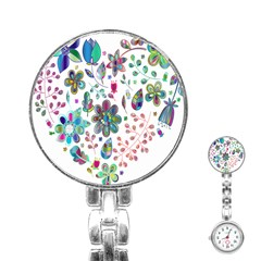Prismatic Psychedelic Floral Heart Background Stainless Steel Nurses Watch by Mariart