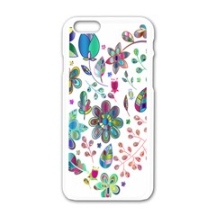 Prismatic Psychedelic Floral Heart Background Apple Iphone 6/6s White Enamel Case by Mariart