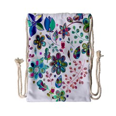 Prismatic Psychedelic Floral Heart Background Drawstring Bag (small) by Mariart