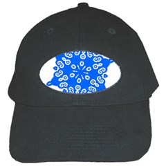 Snowflake Art Blue Cool Polka Dots Black Cap by Mariart
