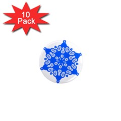 Snowflake Art Blue Cool Polka Dots 1  Mini Magnet (10 Pack)  by Mariart