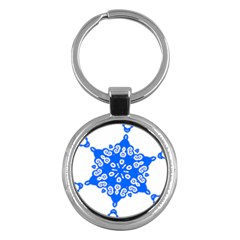 Snowflake Art Blue Cool Polka Dots Key Chains (round)  by Mariart