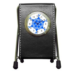 Snowflake Art Blue Cool Polka Dots Pen Holder Desk Clocks by Mariart