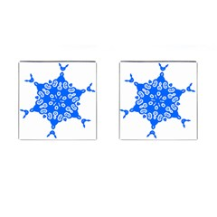 Snowflake Art Blue Cool Polka Dots Cufflinks (square) by Mariart