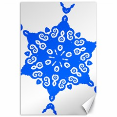 Snowflake Art Blue Cool Polka Dots Canvas 24  X 36  by Mariart