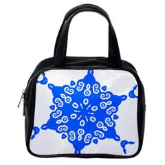 Snowflake Art Blue Cool Polka Dots Classic Handbags (one Side) by Mariart
