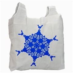 Snowflake Art Blue Cool Polka Dots Recycle Bag (one Side)