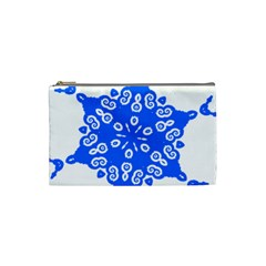 Snowflake Art Blue Cool Polka Dots Cosmetic Bag (small)  by Mariart