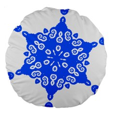 Snowflake Art Blue Cool Polka Dots Large 18  Premium Round Cushions by Mariart