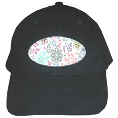 Prismatic Neon Floral Heart Love Valentine Flourish Rainbow Black Cap by Mariart