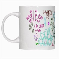 Prismatic Neon Floral Heart Love Valentine Flourish Rainbow White Mugs by Mariart