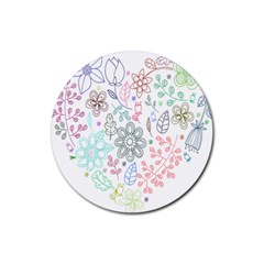 Prismatic Neon Floral Heart Love Valentine Flourish Rainbow Rubber Coaster (round)