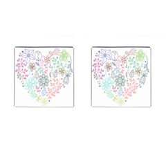 Prismatic Neon Floral Heart Love Valentine Flourish Rainbow Cufflinks (square) by Mariart