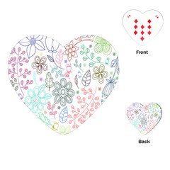 Prismatic Neon Floral Heart Love Valentine Flourish Rainbow Playing Cards (heart)  by Mariart