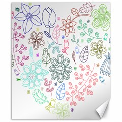 Prismatic Neon Floral Heart Love Valentine Flourish Rainbow Canvas 8  X 10  by Mariart