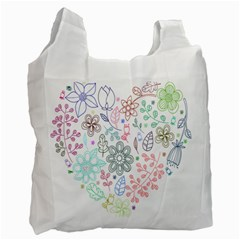 Prismatic Neon Floral Heart Love Valentine Flourish Rainbow Recycle Bag (one Side) by Mariart