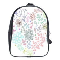 Prismatic Neon Floral Heart Love Valentine Flourish Rainbow School Bag (large)