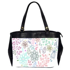 Prismatic Neon Floral Heart Love Valentine Flourish Rainbow Office Handbags (2 Sides)  by Mariart