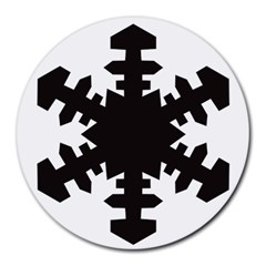 Snowflakes Black Round Mousepads by Mariart