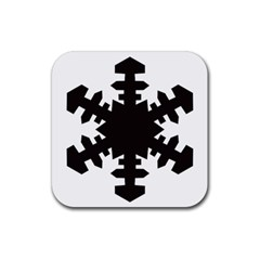 Snowflakes Black Rubber Square Coaster (4 Pack)  by Mariart