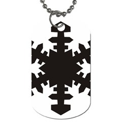 Snowflakes Black Dog Tag (two Sides) by Mariart
