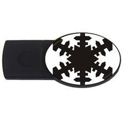 Snowflakes Black Usb Flash Drive Oval (4 Gb) by Mariart