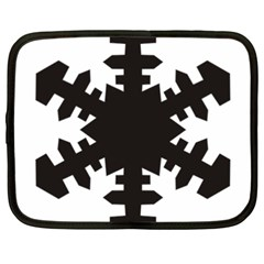 Snowflakes Black Netbook Case (xxl)  by Mariart