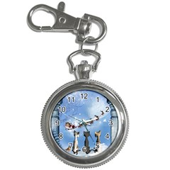 Christmas, Cute Cats Looking In The Sky To Santa Claus Key Chain Watches by FantasyWorld7