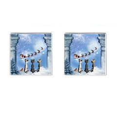Christmas, Cute Cats Looking In The Sky To Santa Claus Cufflinks (square) by FantasyWorld7