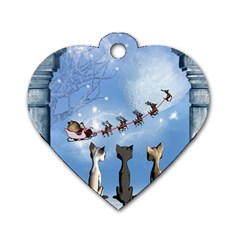 Christmas, Cute Cats Looking In The Sky To Santa Claus Dog Tag Heart (one Side) by FantasyWorld7
