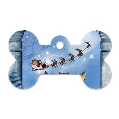 Christmas, Cute Cats Looking In The Sky To Santa Claus Dog Tag Bone (two Sides) by FantasyWorld7