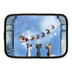 Christmas, Cute Cats Looking In The Sky To Santa Claus Netbook Case (medium)  by FantasyWorld7
