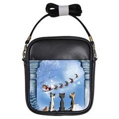 Christmas, Cute Cats Looking In The Sky To Santa Claus Girls Sling Bags by FantasyWorld7
