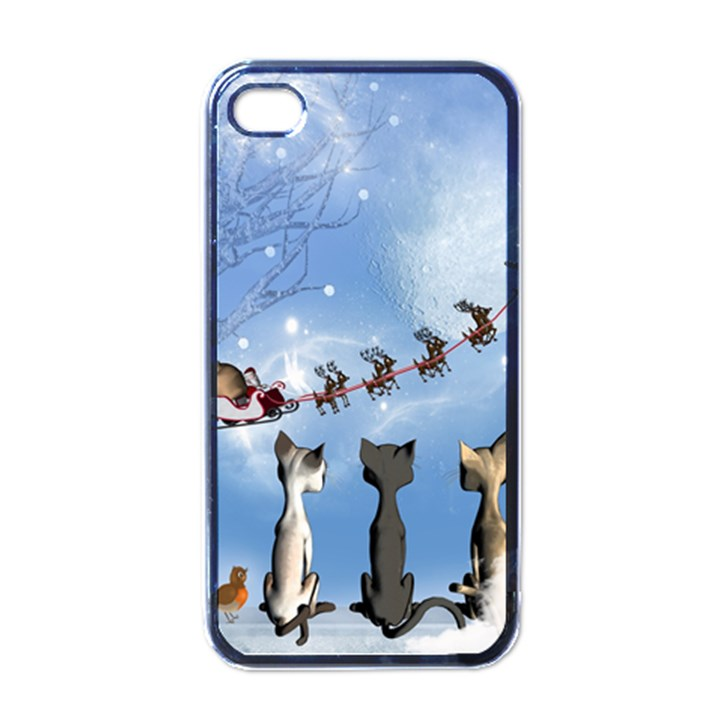 Christmas, Cute Cats Looking In The Sky To Santa Claus Apple iPhone 4 Case (Black)