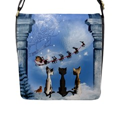 Christmas, Cute Cats Looking In The Sky To Santa Claus Flap Messenger Bag (l)  by FantasyWorld7