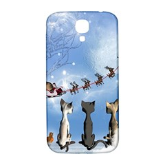 Christmas, Cute Cats Looking In The Sky To Santa Claus Samsung Galaxy S4 I9500/i9505  Hardshell Back Case by FantasyWorld7