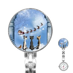 Christmas, Cute Cats Looking In The Sky To Santa Claus Stainless Steel Nurses Watch by FantasyWorld7