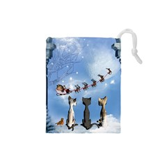 Christmas, Cute Cats Looking In The Sky To Santa Claus Drawstring Pouches (small)  by FantasyWorld7