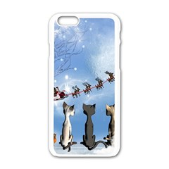 Christmas, Cute Cats Looking In The Sky To Santa Claus Apple Iphone 6/6s White Enamel Case by FantasyWorld7