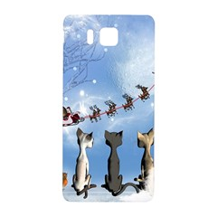 Christmas, Cute Cats Looking In The Sky To Santa Claus Samsung Galaxy Alpha Hardshell Back Case