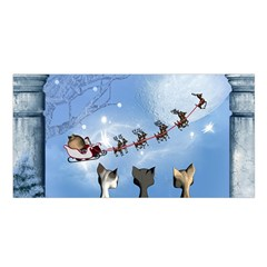 Christmas, Cute Cats Looking In The Sky To Santa Claus Satin Shawl by FantasyWorld7