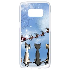 Christmas, Cute Cats Looking In The Sky To Santa Claus Samsung Galaxy S8 White Seamless Case by FantasyWorld7