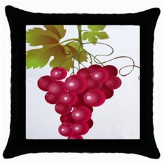 Red Fruit Grape Throw Pillow Case (black) by Mariart