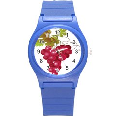 Red Fruit Grape Round Plastic Sport Watch (s) by Mariart