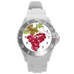 Red Fruit Grape Round Plastic Sport Watch (l) by Mariart