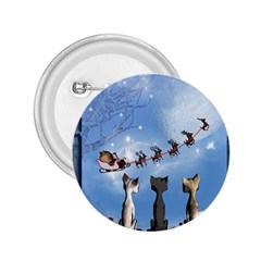 Christmas, Cute Cats Looking In The Sky To Santa Claus 2 25  Buttons by FantasyWorld7