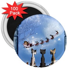 Christmas, Cute Cats Looking In The Sky To Santa Claus 3  Magnets (100 Pack) by FantasyWorld7