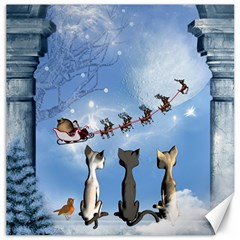 Christmas, Cute Cats Looking In The Sky To Santa Claus Canvas 12  X 12   by FantasyWorld7