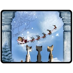 Christmas, Cute Cats Looking In The Sky To Santa Claus Fleece Blanket (large)  by FantasyWorld7